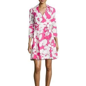 Pink & White Floral Wrap Dress